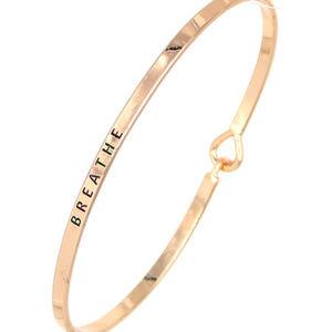 """Rose Gold """"Breathe"""" Mantra Bracelet"""
